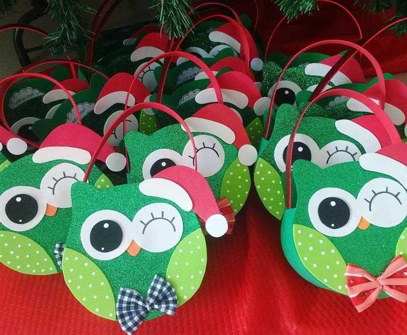 bolsinha de coruja de Natal