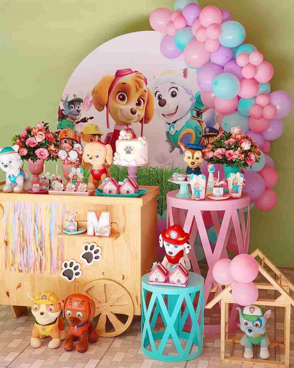 aniversário da Patrulha Canina rosa