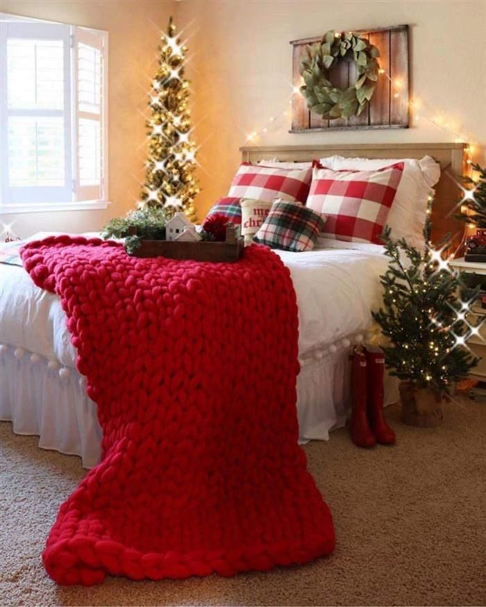 cama decorada de natal
