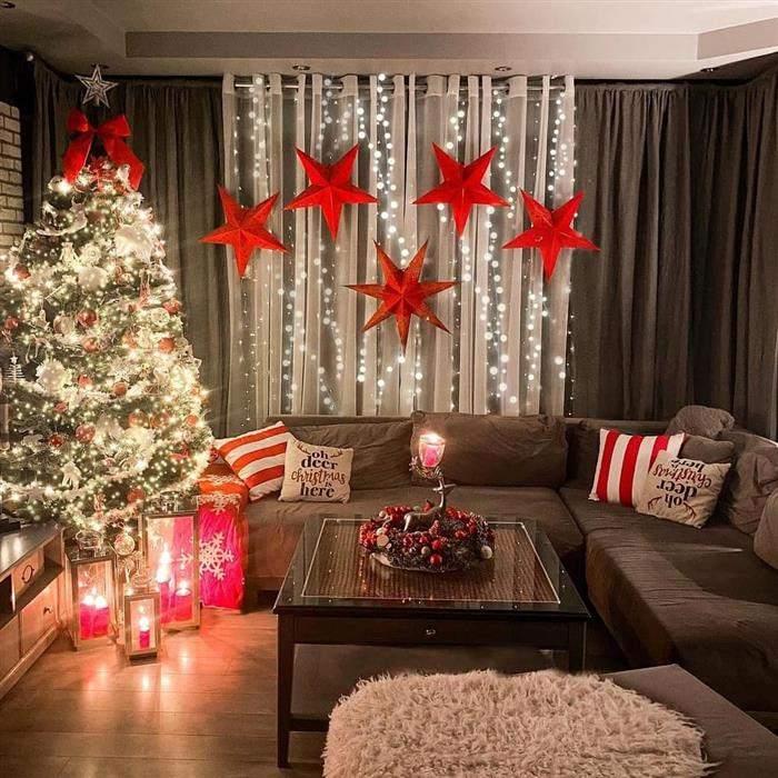 decoração de natal com estrelas