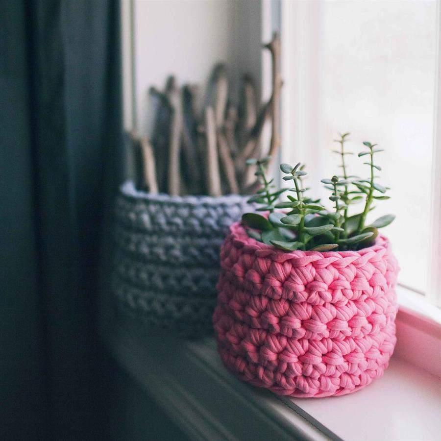 cachepô de crochê para banheiro