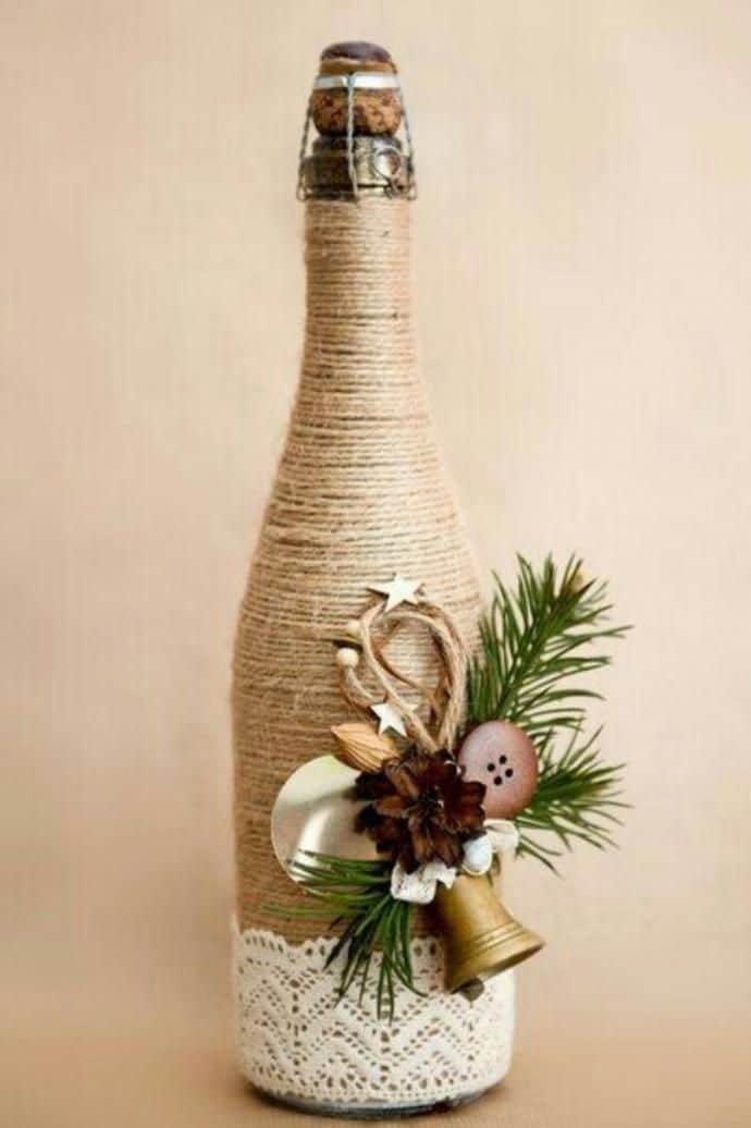 garrafa de natal com sisal