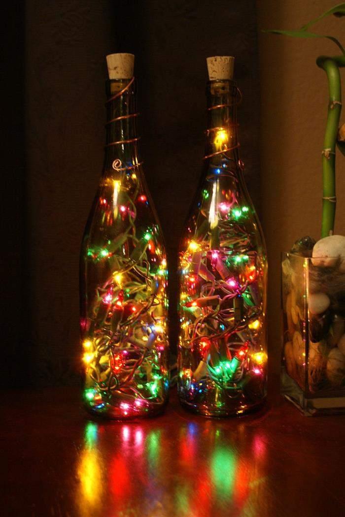 garrafas com pisca pisca