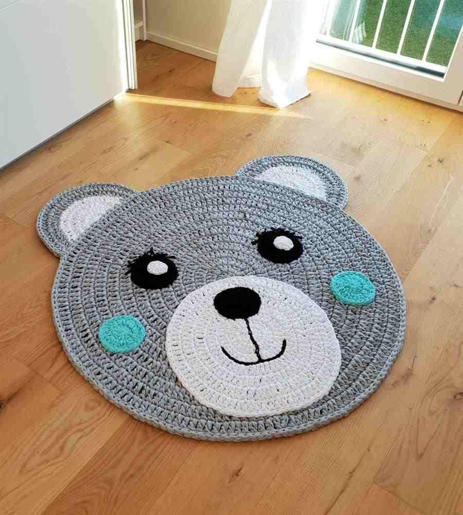 tapete de crochê infantil de urso