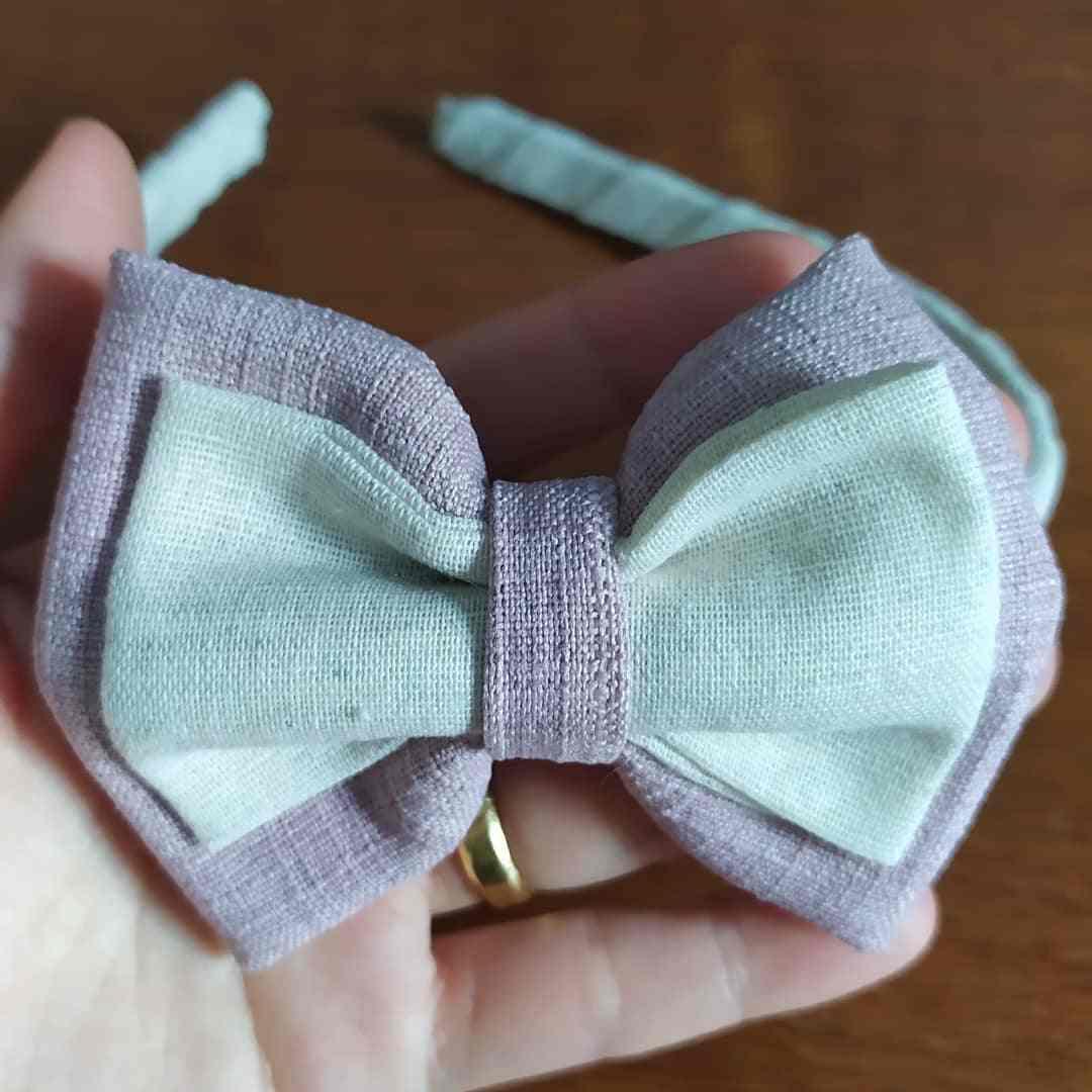 tiara com laço duplo de tecido