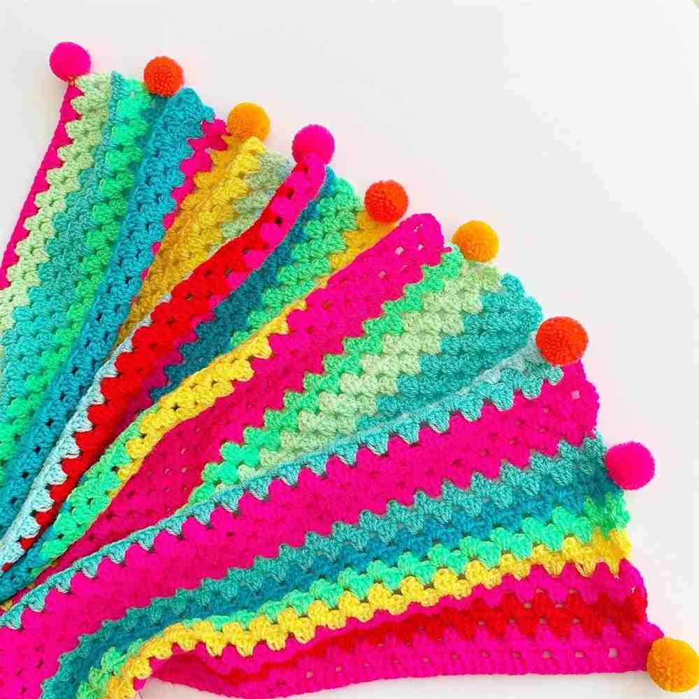 manta de croche para bebe colorida
