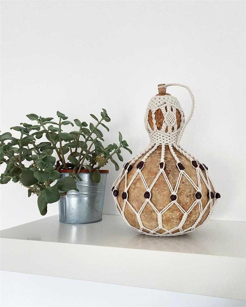 artesanato de cabaça e macramê