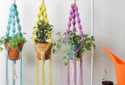 tipos de macrame para vasos coloridos para plantas