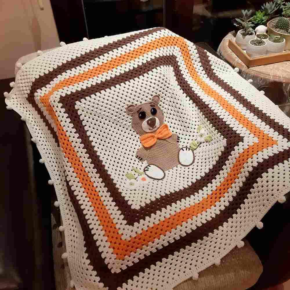 manta de croche para bebe com ursinhos
