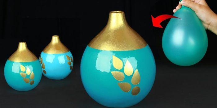 vaso feito com bexiga de assoprar