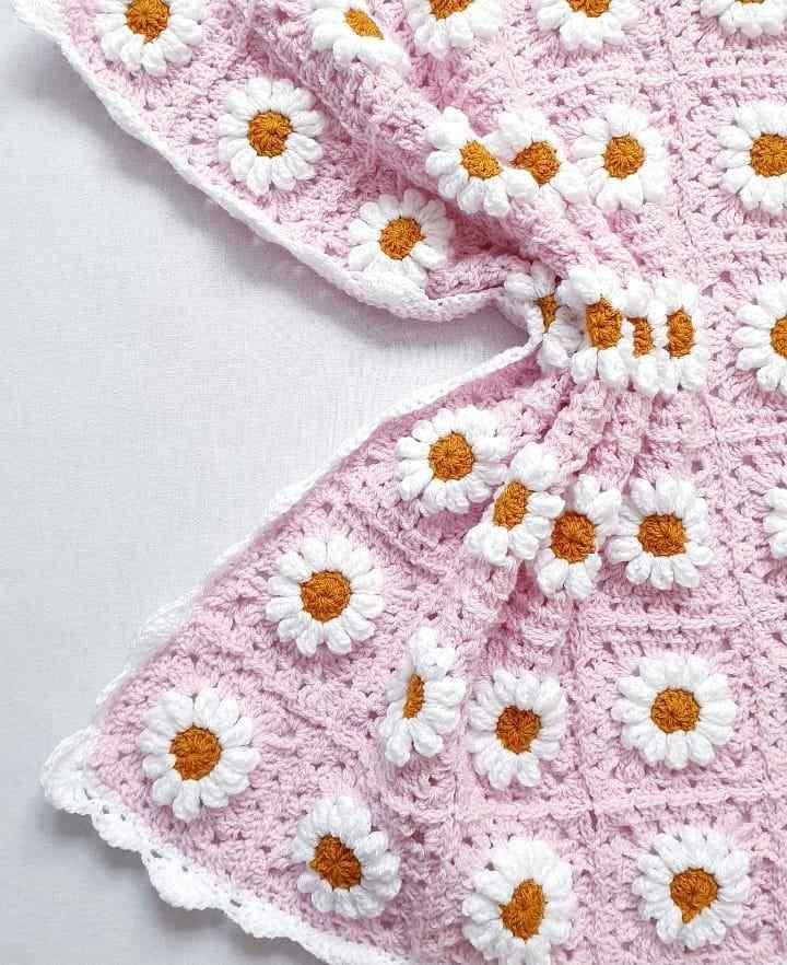 manta de croche para bebe com flores
