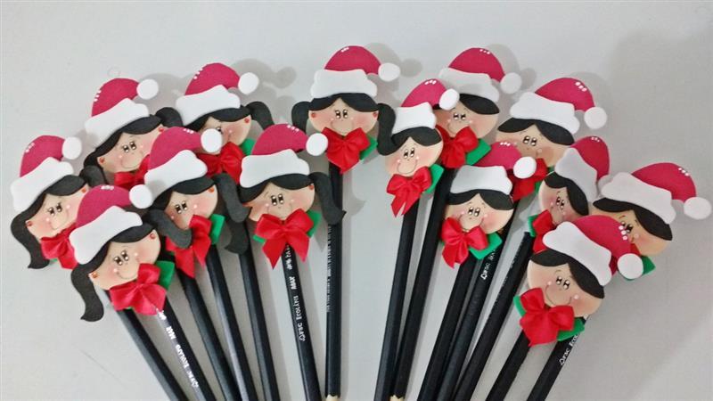 Ponteira de lápis de Natal em EVA
