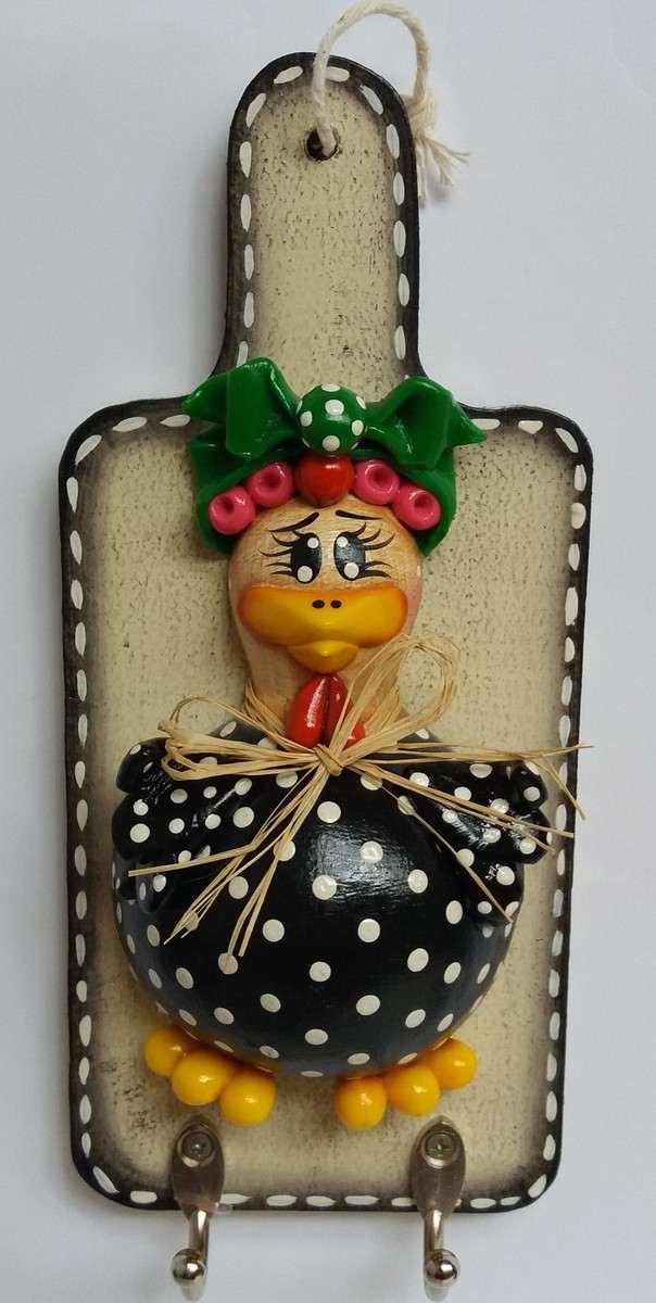 porta chaves com galinha