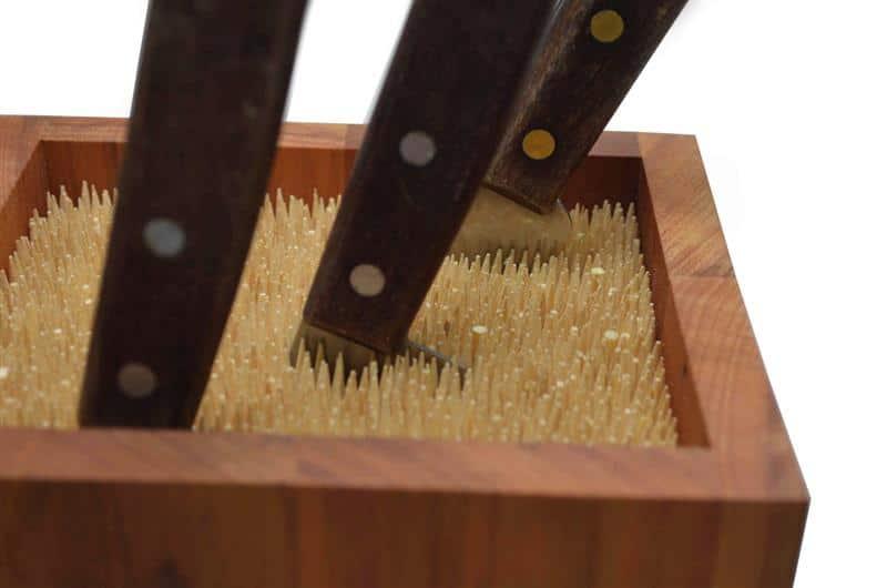 porta facas com palitos de churrasco