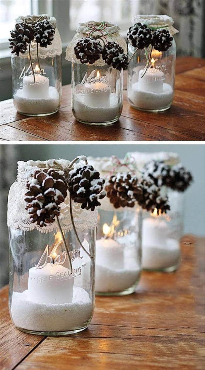 pote de vidro decorado para o natal