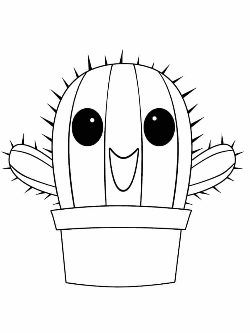 Desenho de cacto kawaii