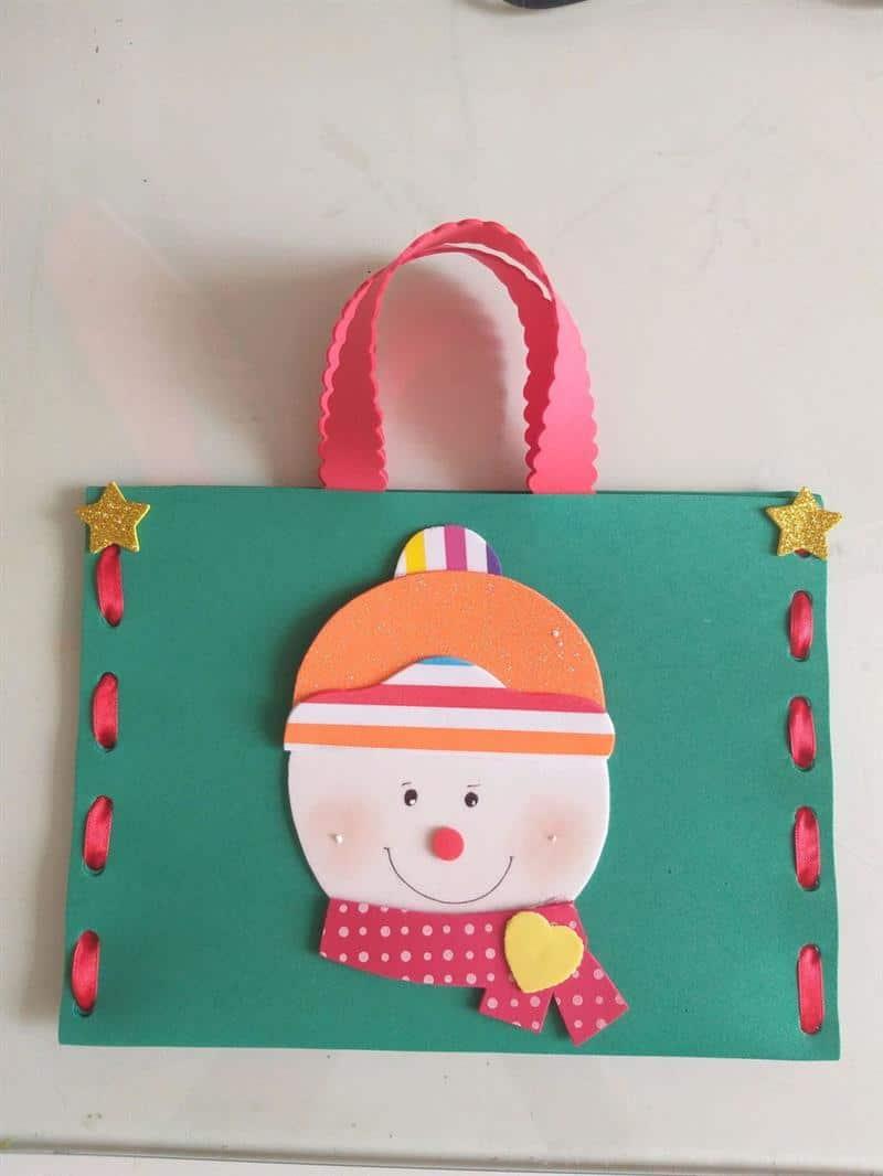 Bolsinha de EVA boneco de neve