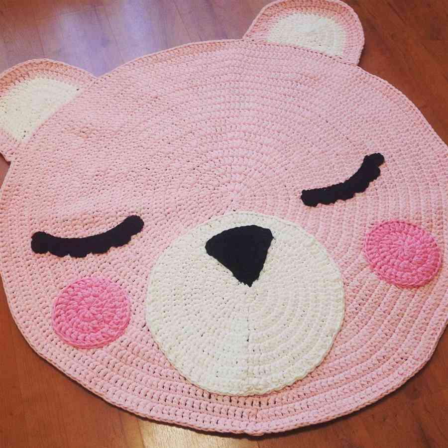 tapete de croche infantil rosa