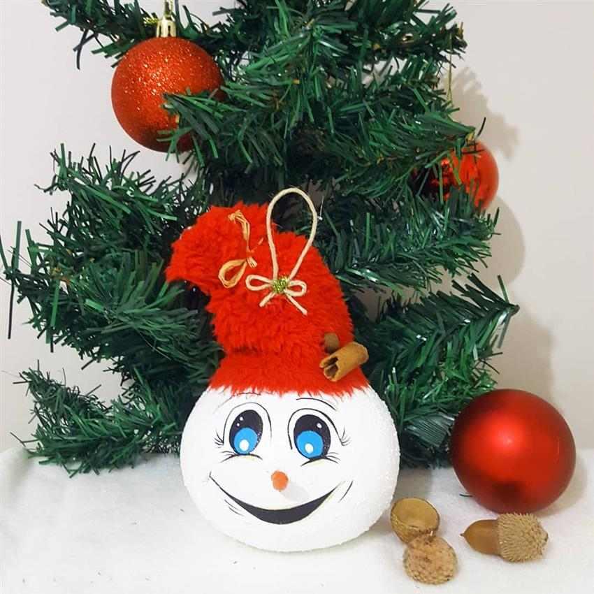 boneco de neve feito de cabaça