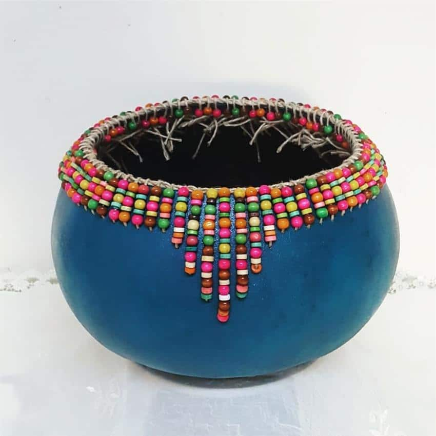 Vaso decorativo com contas
