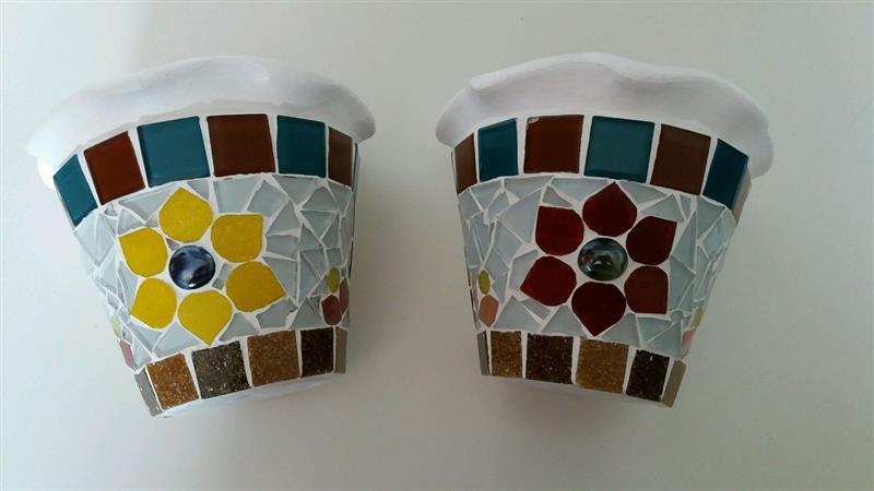 Vasos de cerâmica mosaico de pastilhas