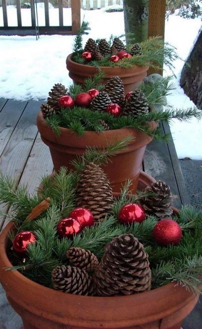 vasos decorados com pinha