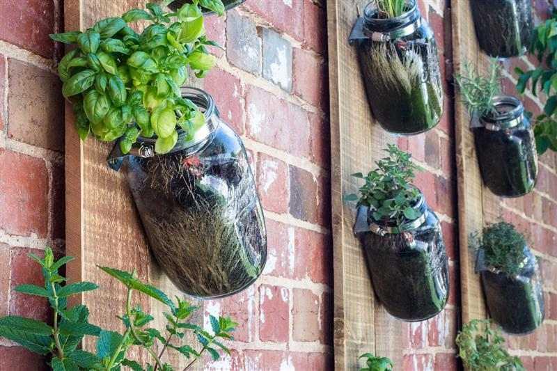vasos para jardim vertical de vidro reciclado