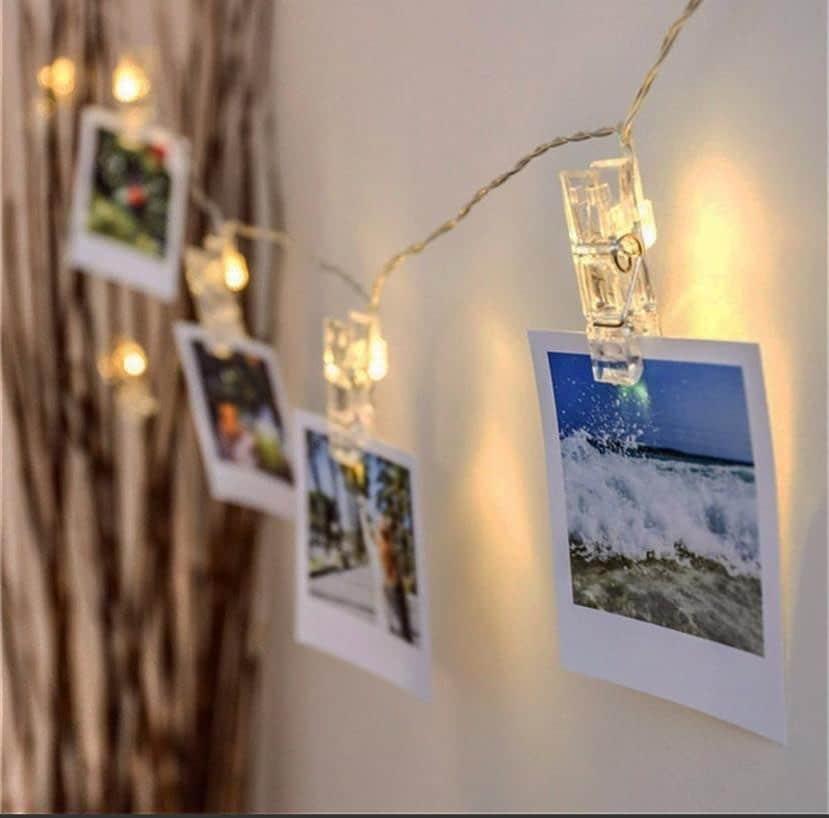 Varal de fotos com luzes de LED