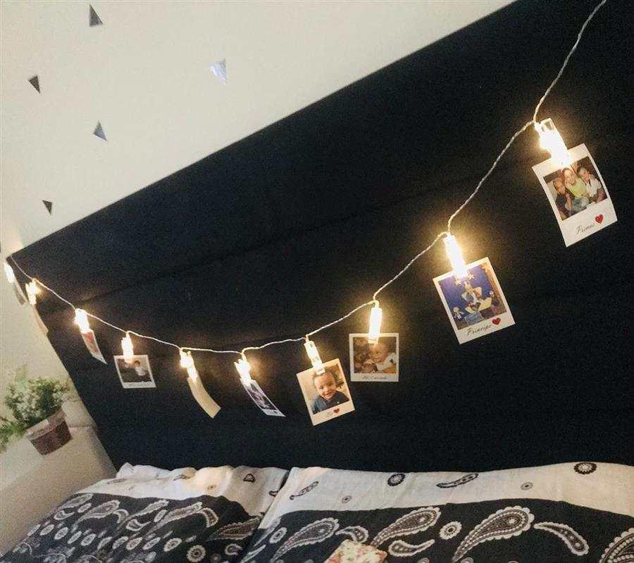 Varal de fotos para quarto de casal
