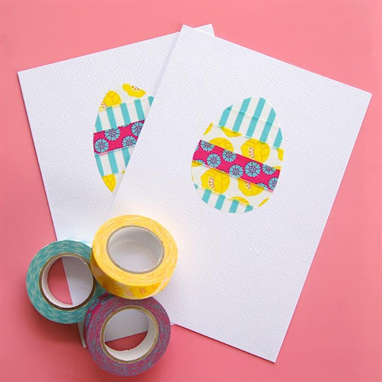 cartão de Páscoa infantil com fita
