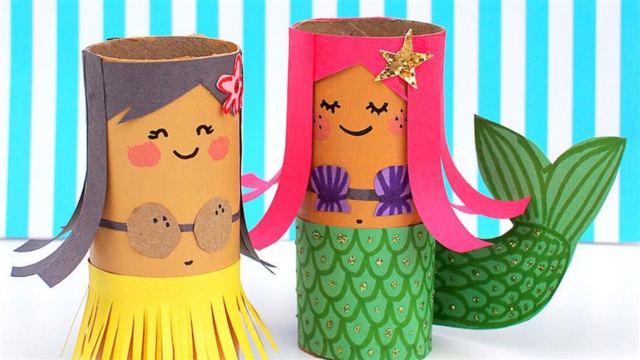 Sereias de rolo de papel higiênico