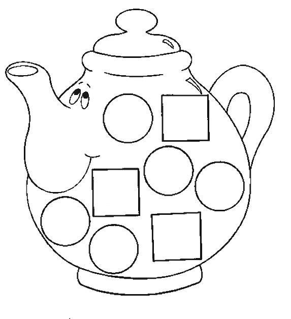 Bule para colorir com círculos e quadrados