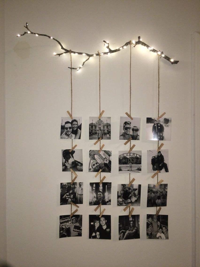varal de fotos para parede do quarto