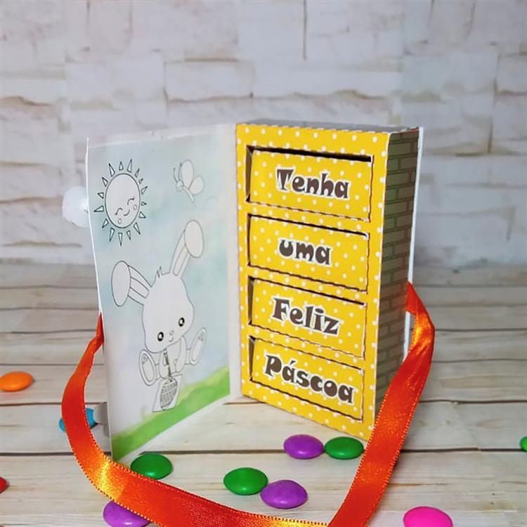 Cartão de Páscoa com Bis caixinha