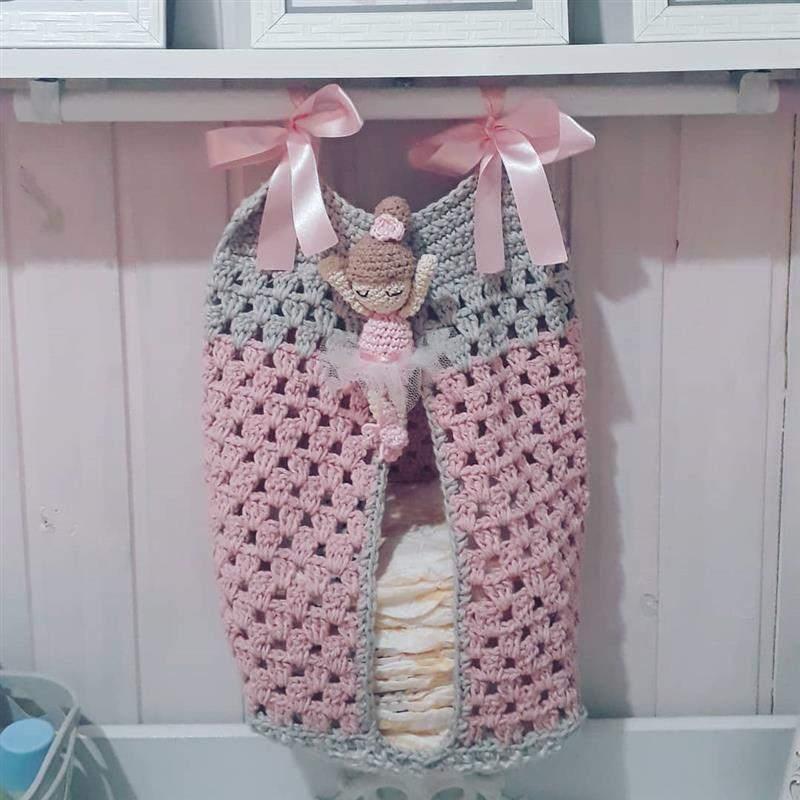 Bolsão em crochê cinza e rosa
