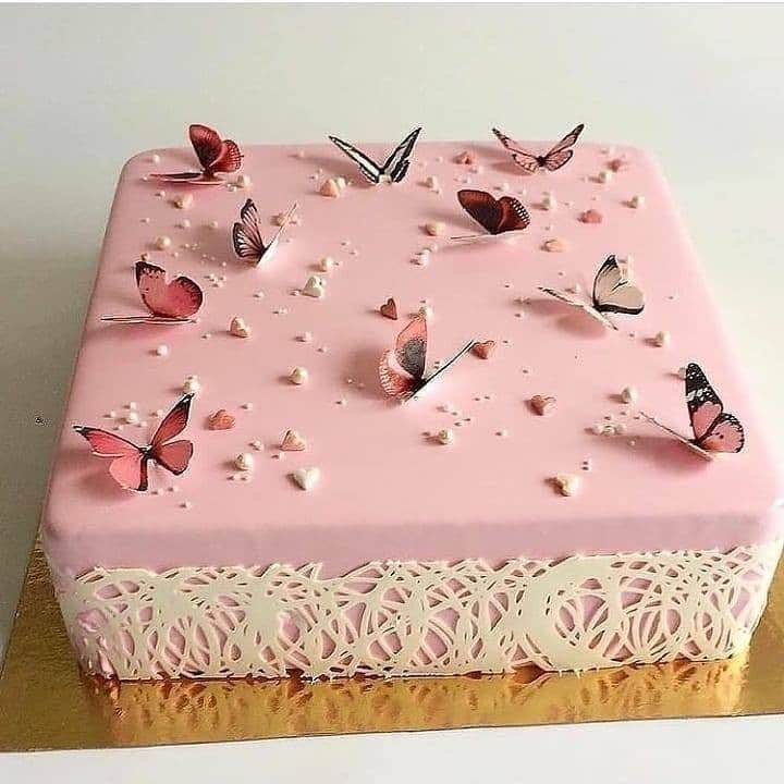 bolo quadrado rosa