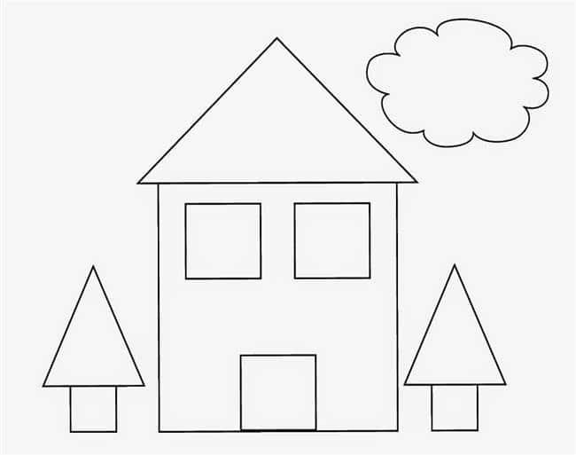 Desenho de casa com formas geométricas