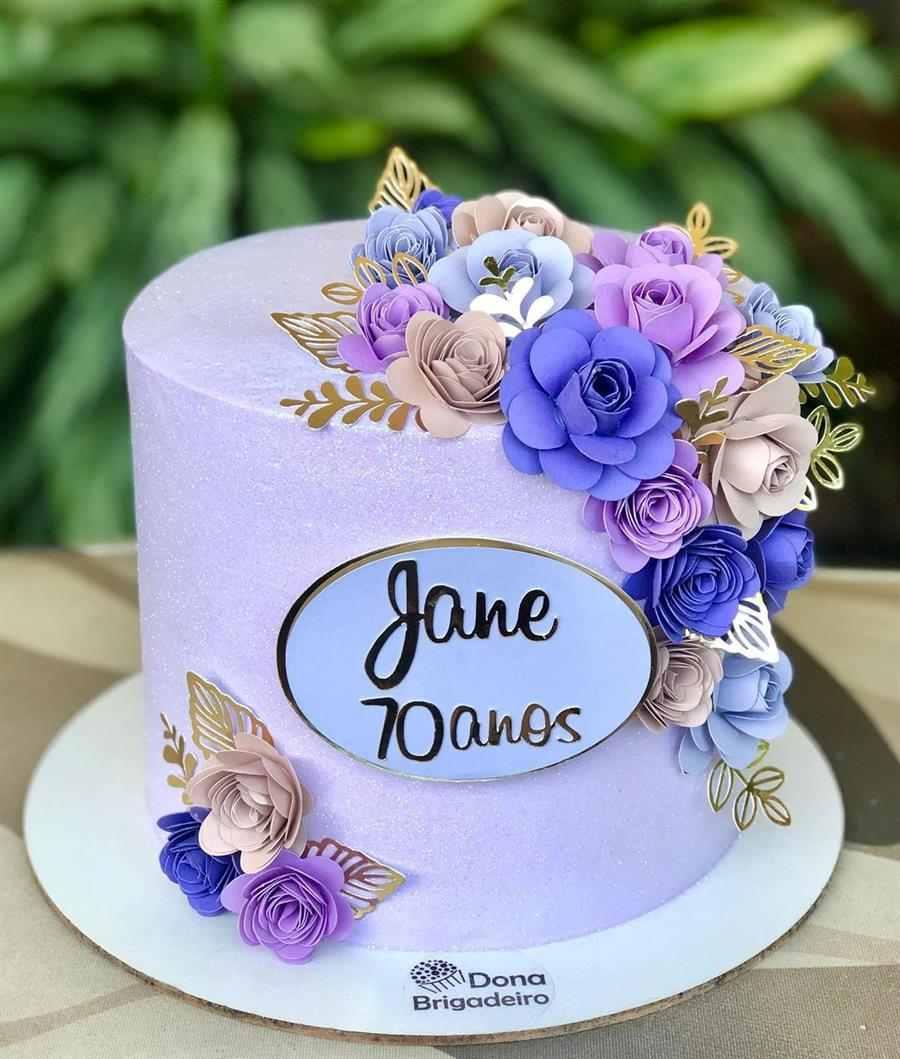 lilás com flores de papel