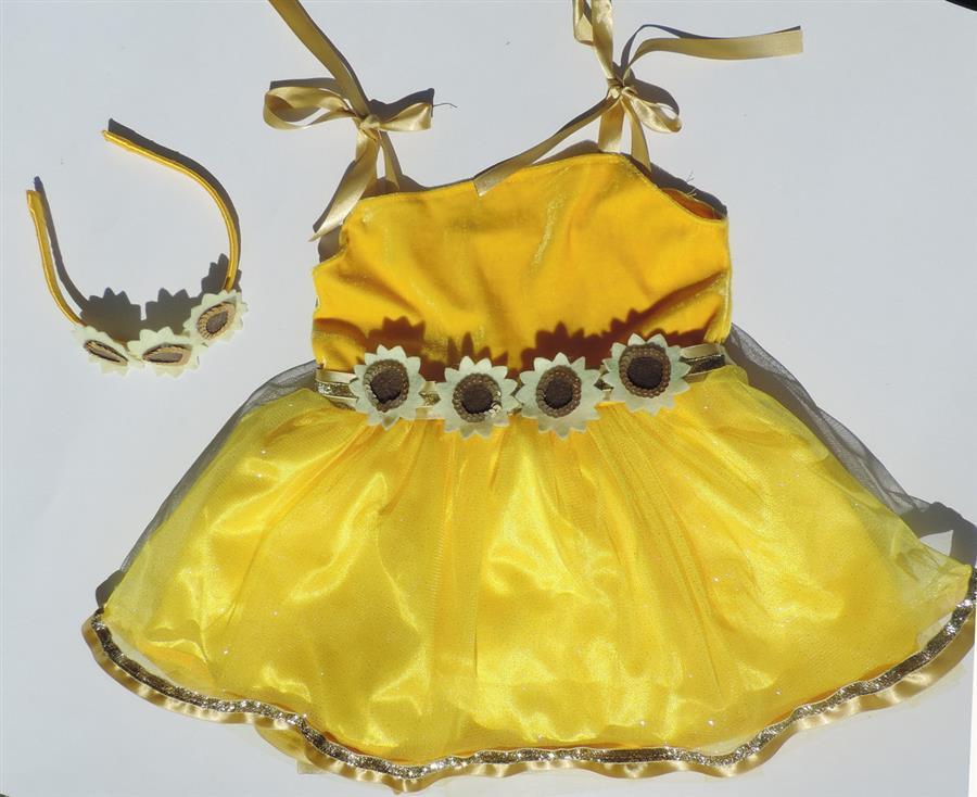 Vestido de girassol infantil
