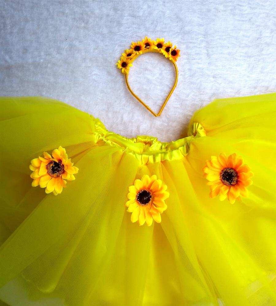 Saia tutu amarela com girassol