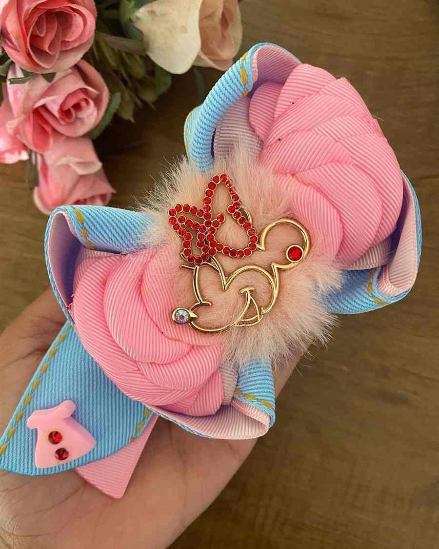Laço Minnie rosa e azul