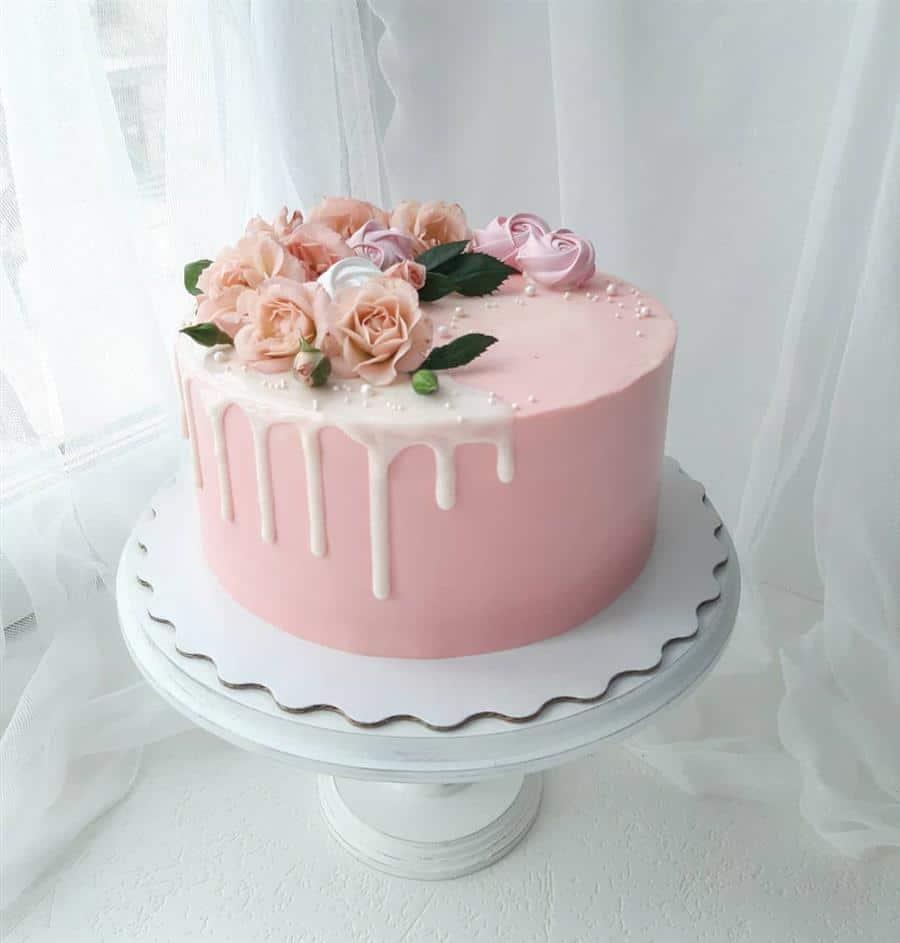 bolo redondo rosa