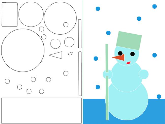 Boneco de neve para colorir e montar