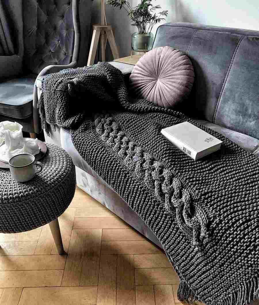 Manta de tricô para sofá
