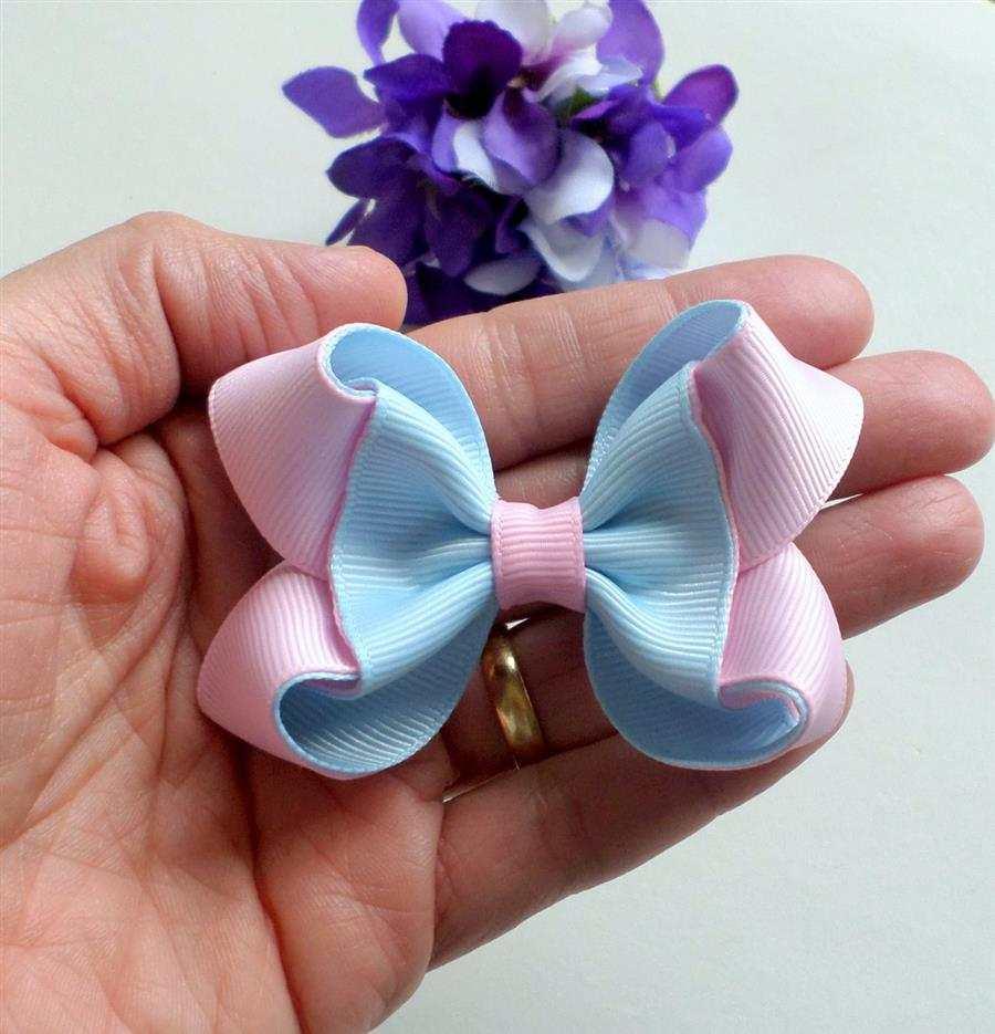 mini laço azul e rosa bebe
