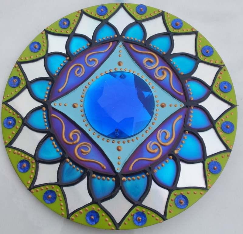 mandala de cd e pintura vitral