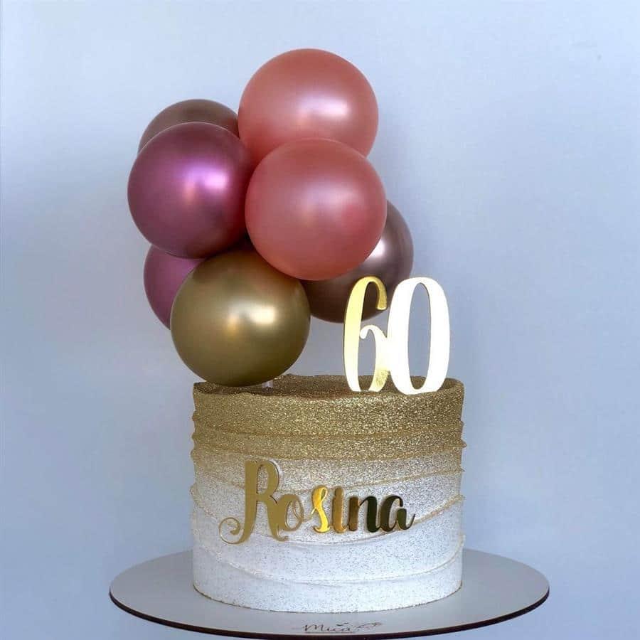 Ballon cake dourado e rosa