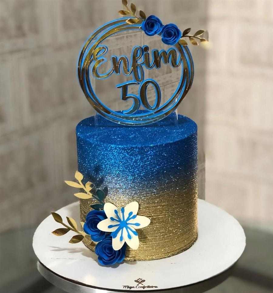 azul e dourado com topper circular