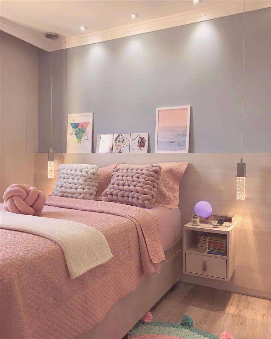 decoração da cama de quarto rosa