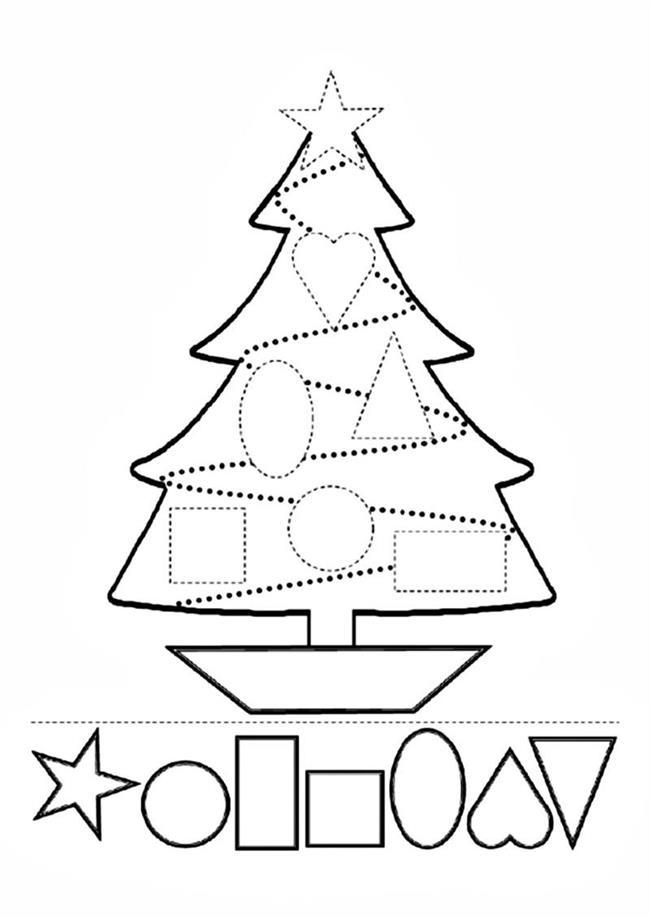 Árvore de Natal com formas geométricas pontilhadas